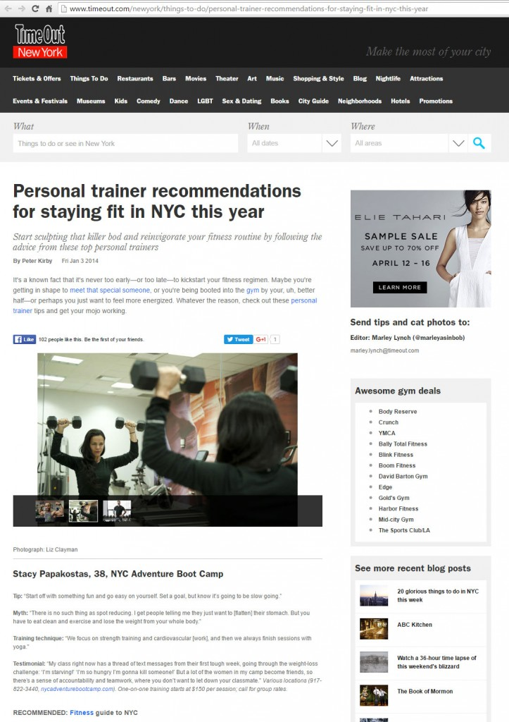 timeout new york personal trainer recommendations